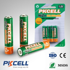 Pkcell Ni-Zn Rechargeable Battery AAA 900Mah 1.6V 4pcs pack